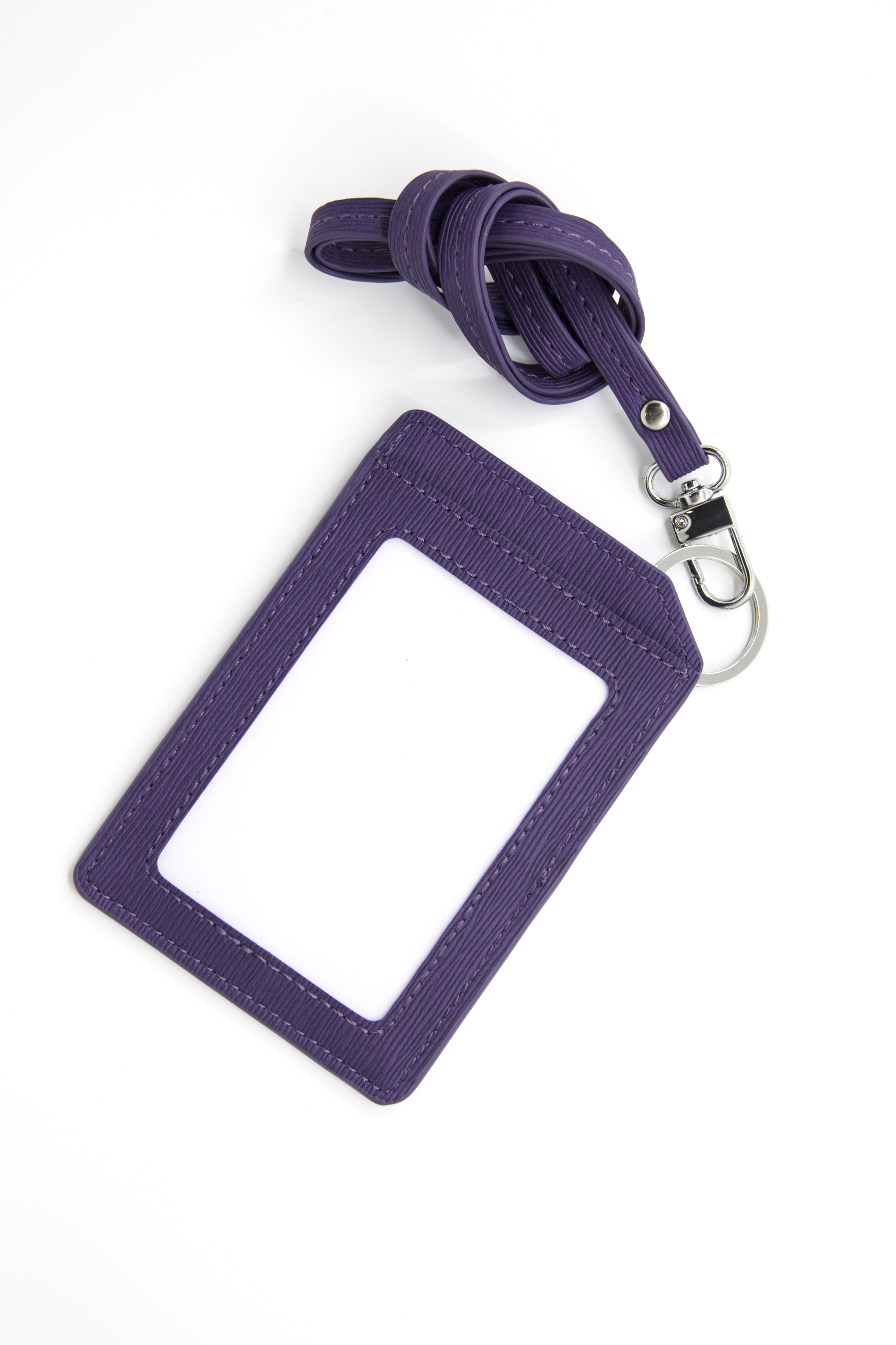 Badge Holder with Flat Lanyard (Purple)